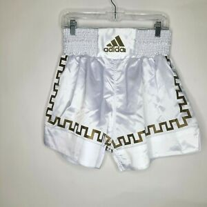 Adidas White Thai Style Gym Sports Kick Boxing Shorts MMA Size L