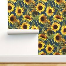 Removable Water-Activated Wallpaper Sunflower, Summer, Floral, Boho, Bohemian,