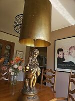 """VTG Mid-Century Honi Chilo Gold Gilted Chalkware Figural Table Lamp w/Shade 47"""""""