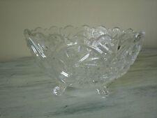 VIOLETTA Polish Clear Crystal - Hand Cut 24% Lead Footed Etched Candy Dish EUC