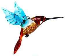 Hummingbird Glass Figurine, Blown Art, Blue and Red Bird Ornament