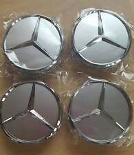 MERCEDES ALLOY WHEEL CENTRE CAPS C CLASS CLK CLS SL ML GL 75MM SILVER