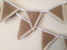 Bunting - Hessian & White Lace Wedding Christening Decor Shabby Chic Rustic 6ft