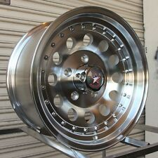 "(4) REBEL RACING BANDIT II OUTLAW 15"" MACHINED WHEELS 15x7 5x4.5 