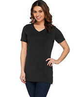 Isaac Mizrahi Live! Essentials V-Neck Tunic w/ Side Slits - Black - Medium
