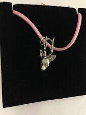 Capriolo Testa pp-a20 Peltro Ciondolo su una Collana di Corda Rosa
