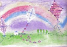 KITES AND RAINBOWS IN PASTEL SHADES WALLPAPER   BORDER   NGB76800