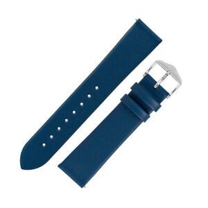 Hirsch TORONTO Fine-Grained Leather Watch Strap in BLUE