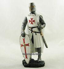 Crociato Cavaliere Medievale Figura 17cm ALTO BIANCO Scudo & Costume Statua Figurina