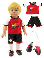 """Red Soccer Outfit Short Set Fits 18"""" American Girl or Boy Doll Clothes"""