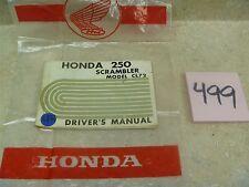 Honda 250 Scrambler CL CL72 Vintage Original Owners DRIVERS Manual #VP-MAN499