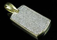 0.75Ct 14K Yellow Gold Over Round Cut Diamond Dogtag Pendant