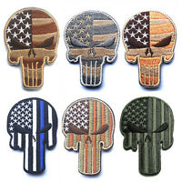 6 PCS U.S. PUNISHER SKULL USA ARMY MORALE TACTICAL Hook Loop PATCH MORALE BADGE