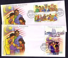 2002 Malaysia Malaysian Unity, 3v Stamps + Miniature Sheet MS on 2 FDC