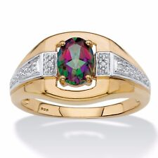 MYSTIC FIRE TOPAZ 18K GOLD OVER STERLING SILVER RING 8 9 10 11 12 13