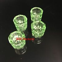 4Pcs Green Glass Dappen Dishes Tiny Mixing Bowls Glassware SALE NEW