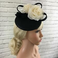Fascinator Black Ivory Large Rose Floral Loops Clip Fitting Quality Anna Grace