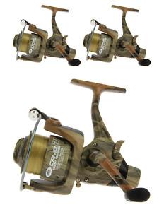 3 x Angling pursuits NGT Carp Fishing Reel Camo 60 + 12 lb Line + Spare Spool