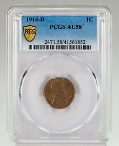 1914-D 1C Lincoln Cent Graded by PCGS as AU-58! Key Date!