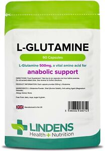 L-Glutamine 500mg 90 Capsules Amino Acid for Anabolic Support Muscle Lindens