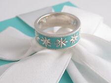 Tiffany & Co New Silver Daisy Blue Enamel Ring Size 6 Packaging Box Pouch Ribbon