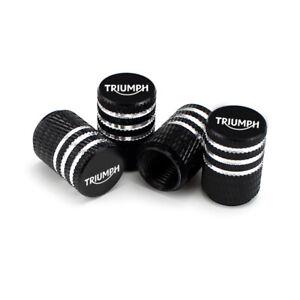Triumph Black Laser Engraved Tire Valve Caps - Extra Spare Cap Total 5 Caps