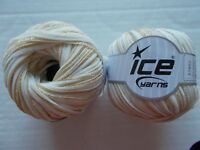 Ice Yarns Ribbon yarn, off white/gold, lot of 2 (110 yds ea)