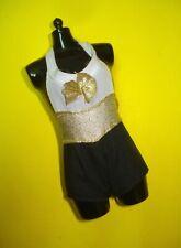 Barbie Fashionista Doll Clothes Black & Gold Tuxedo Style Bootie Romper