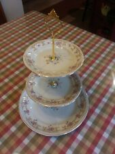 3 Tiered serving Piece w/ Antique Dishes