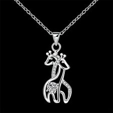NEW Giraffe Pendant Necklace Silver Tone Plated Crystal Jewelry Hugging Crystal