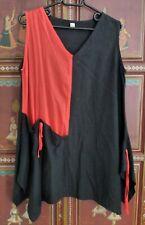 Tunique pour femme rouge et noir, coupe asymétrique 100 % lin Taille 42/44