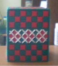 Handmade Tissue box holder Green, Red, White