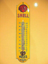 PLAQUE EMAILLEE  BOMBEE thermometre SHELL HUILE MOTEUR  garage EMAIL ENAMEL