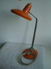 LAMPE POP VINTAGE ORANGE FASE TOLE ET CHROME DESIGN 70 SEVENTIES bureau deco