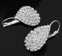 1 Pair Rhinestone Teardrop 925 Silver Plated Dangle Earrings Fashion Jewelry