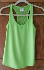 Gilly Hicks Lime Green Lace Back Tank Top, Sleeveless, XS, EUC