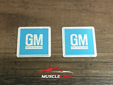 1967 GM Mark Of Excellence Turquoise Door Jamb Embossed Foil Decal / Sticker (2)