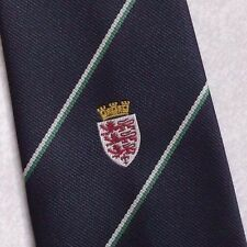 CLUB ASSOCIATION TIE VINTAGE RETRO LION SHIELD CREST CROWN MOTIF 1990s NECKTIE