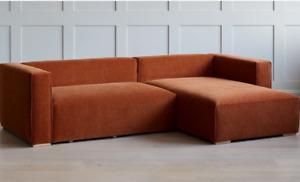 Modern, Handmade, Velvet, 2-piece corner Sofa