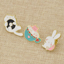 1 Set Kawaii Animal Cat Rabbit Enamel Brooch Collar Pin Badge Women Jewelry