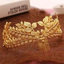 Vintage Gold Leaf Headdress Headband Wedding Bridal Hair Comb Crown Grecian