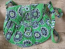 Vera Bradley Purse Shoulder Bag Green Background/Blues Pattern Magnetic Closure