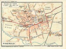 Carta geografica antica PINEROLO Pianta della città TORINO 1914 Antique map