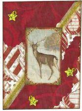 ACEO ATC Art Collage Print Christmas Deer Reindeer Antlers Red