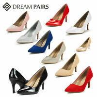 DREAM PAIRS Womens Slip On Pump Shoes Pointed Toe Stilettos Heel Dress Shoes