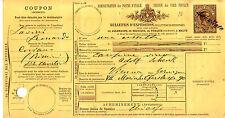 Bollettini Pacchi 1,75 lire (4) per Vienna - annullato -completo di coupon- 1893
