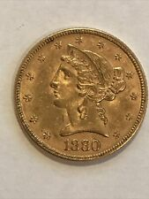 1880 P Liberty Five Dollar Half Eagle Gold Coin, Never cleaned