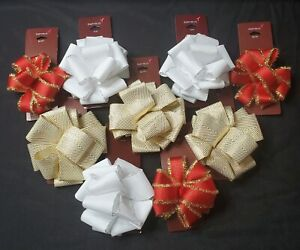 LOT: 9 Papyrus Christmas Bows; Red, Gold, & White