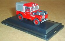 "OXFORD DIECAST LAND ROVER SERIES 1 88"" FIRE VEHICLE 1:76 SCALE MODEL CAR RED"