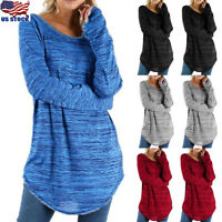 Women Long Sleeve Crew Neck Tunic Tops Sweater Round Hem Casual Cotton Blouse US